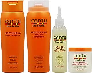 Cantu Moisturizing Shampoo + Rinse + Tea Tree Oil + Grow Strong Treatment