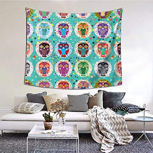 Tapiz para colgar en la pared, sin costuras, con divertidos búhos de colores en un fondo turquesa, tapiz de 156 x 150 cm, diseño bohemio, para colgar para dormitorio, sala de estar, hogar, decoración
