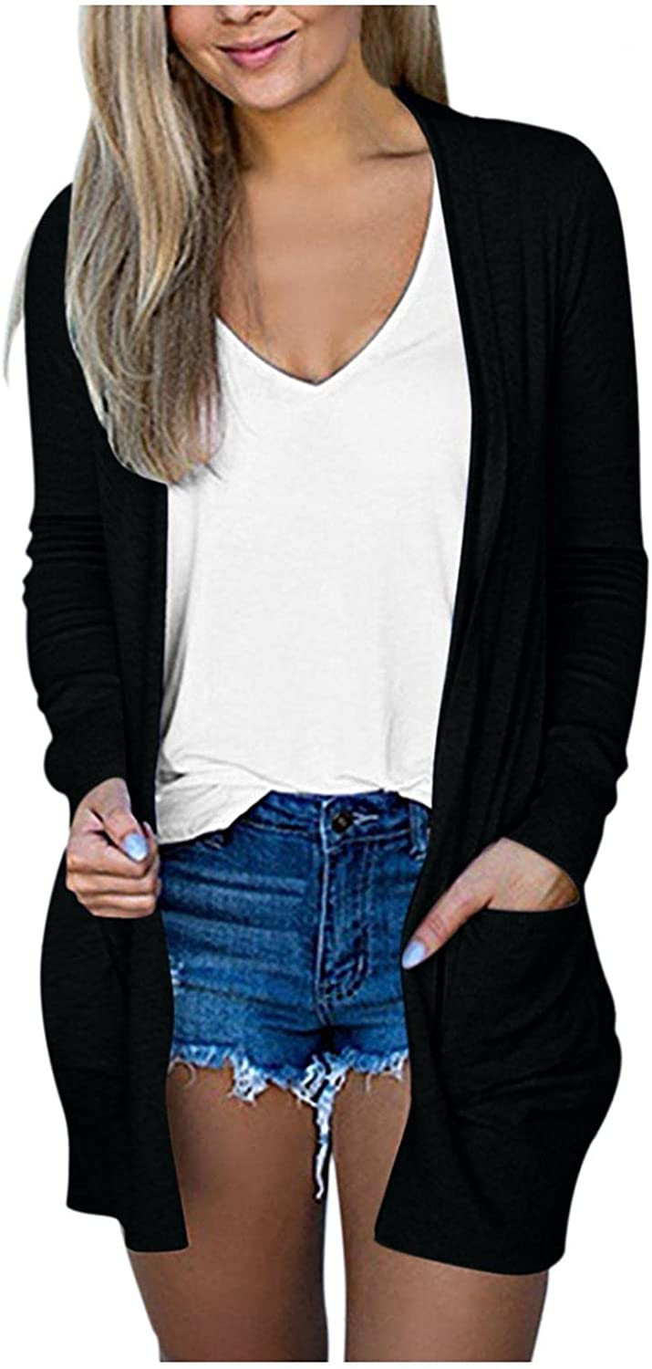 Cardigans for Women Long Sleeve Open Front Chunky Knit Cardigan Sweater Button Down Lightweight Outwear Coat with Pockets