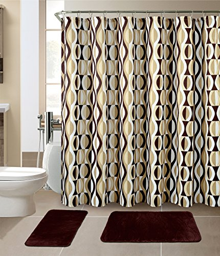 Luxury Home Collection 15 Pc Bath Rug Set Memory Foam Non-Slip Bathroom Rug Mats and Shower Curtain and Rings Hooks Solid New (Brown/Choclate)