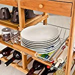 BAKAJI-Carrello-da-Cucina-in-Legno-di-bamb-con-Ripiano-Tagliere-Cassetti-Portaposate-Porta-Capsule-caff-Portabottiglie-Ceste-Portafrutta-in-Metallo-Mensole-Estraibili-e-4-Ruote-Girevoli