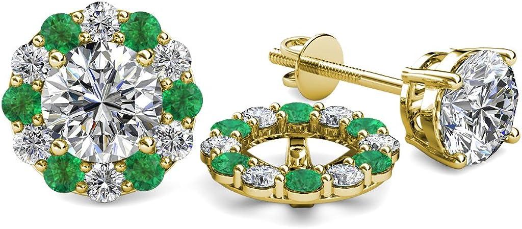 TriJewels Diamond and Emerald 0.71 Carat tw Women Halo Jackets for Stud Earrings in 14K Yellow Gold