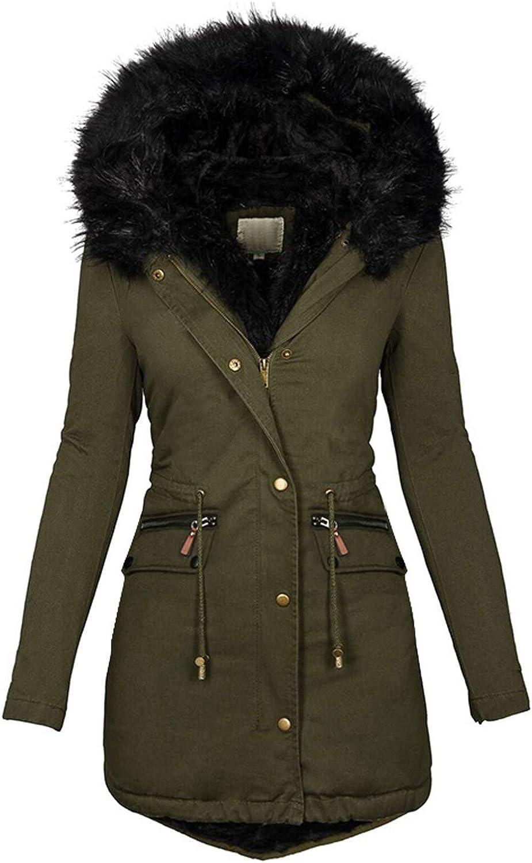 KEEADI Women's Winter Coat Hooded Slim Jacket Fleece Lined Parka Faux Fur Jackets with Pockets