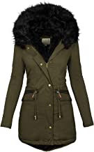 $59 » Letdown Accessories Womens Hooded Warm Winter Thicken Fleece Lined Parkas Button Down Full Zip Solid Color Windproof Long ...