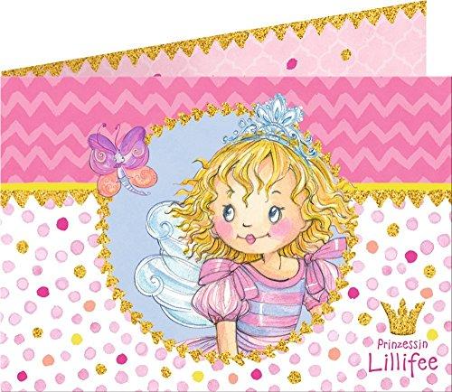 Prinzessin Lillifee 16-teiliges Einladungs-Set Kindergeburtstag und Mottoparty // mit 8 Einladungen und 8 Umschläge // Einladung Einladungskarten Invites Kinder Geburtstag Princess Pink Rosa Mädchen