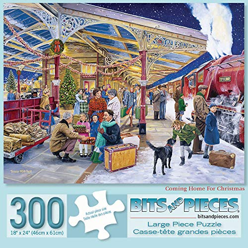Bits and Pieces - 300 Piece Jigsaw Puzzle for Adults 18' x 24'  - Coming Home for Christmas - 300 pc Holiday Travel Steam Train Family Classic Train Station Jigsaw by Artist Trevor Mitchell