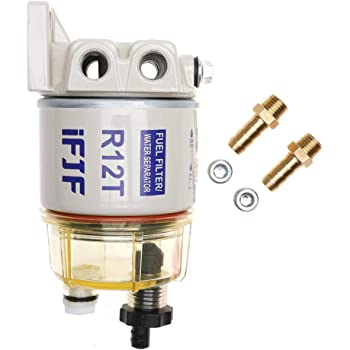 Amazon.com: iFJF R12T Fuel Filter/Water Separator 120AT NPT ZG1/4-19  Automotive Parts with Fitting -Complete Combo Filter Diesel Engine(Includes  2 fittings,2 plugs): AutomotiveAmazon.com