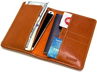 Brown passport travel wallet for men. Classic travel wallet for passport, boarding pass, cash and cards. Made in USA by Made in Mayhem