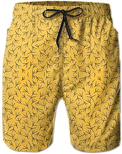Dawn & Rose Herren Badeshorts Badeanzug Quick Dry Badeshorts mit Doodle Hen 2 Swatch 5 Stoff ohne Netzfutter Gr. XL, Wie abgebildet 3