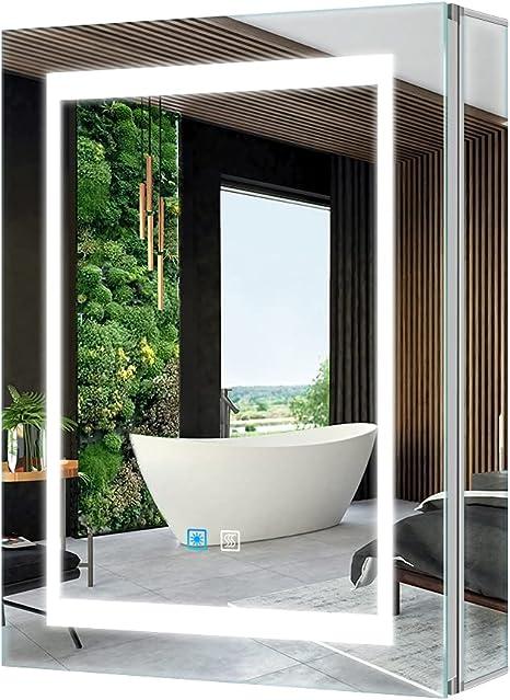 Tokvon Viewfinder 50 X 70 Cm Mirror Cabinet Led Bathroom Mirror Cabinet With Lighting Wall Cabinet Light Aluminium Anti Fog Shaver Socket Touch Amazon De Home Kitchen