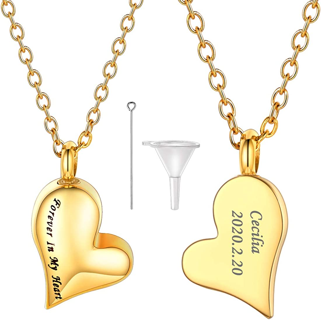 U7 Customize Cremation Jewelry for Ashes Stainless Steel Memorial Keepsakes Urn Locket Necklace with Fill Kit and Gift Box