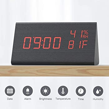 Cacagoo Digital Alarm Clock with Wooden Electronic LED Time Display