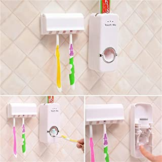 YALEEE Toothbrush Holder Toothpaste Dispenser Set Wall Mount Stand for Restroom Bathroom