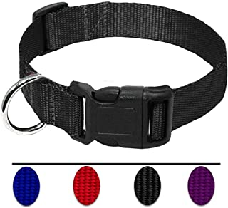 AEDILYS Adjustable Nylon Dog Collar,Classic Solid Colors for Small Sized Dogs Neck.