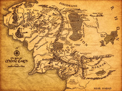KMS Map of Middle Earth The Lord of The Rings Fabric Canvas Cloth Poster Print for Bar Office Room Wall Print Home Decoration 14x17.99inch(35.6x45.7cm) Unframed (Style C)