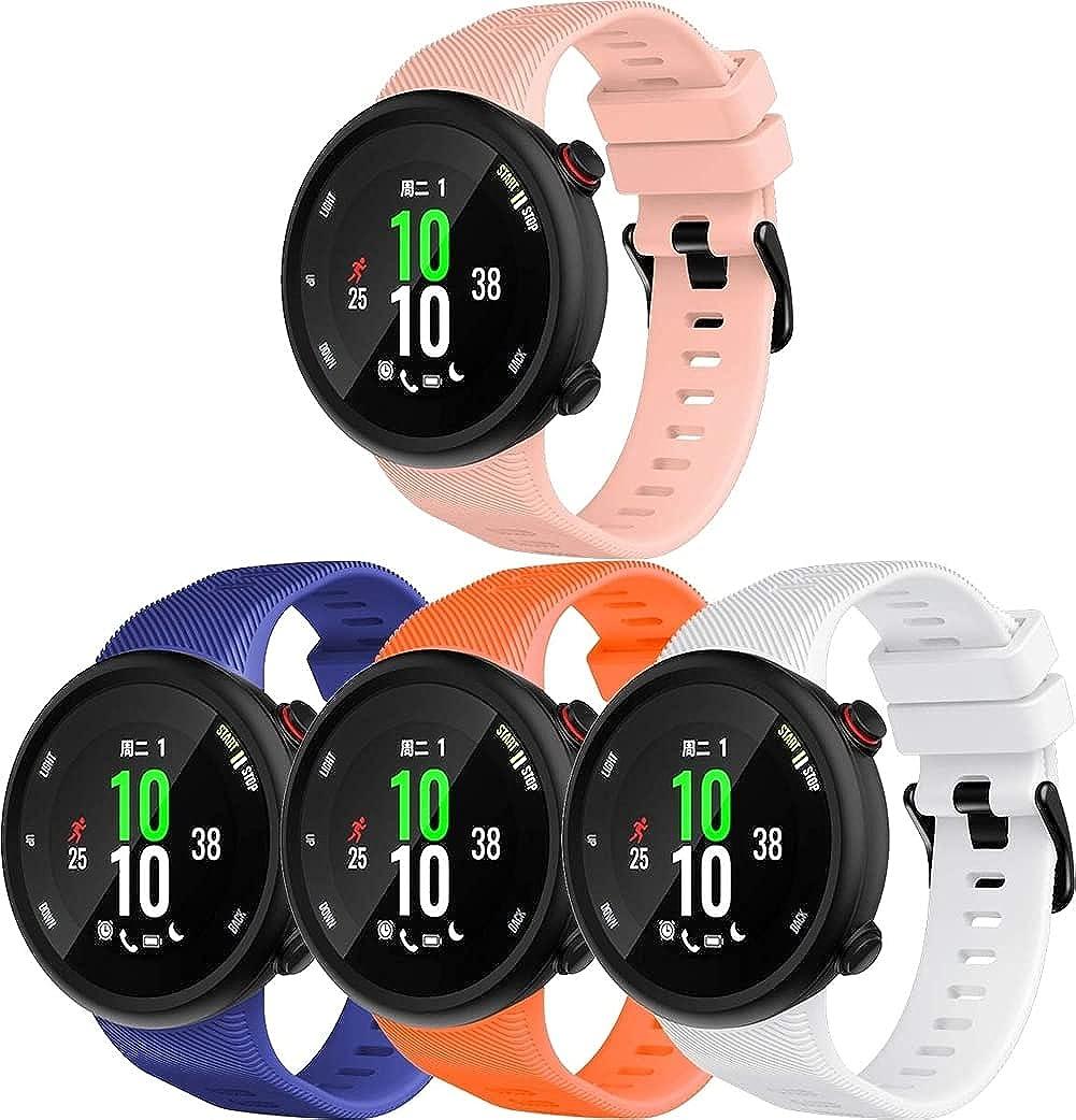 Chainfo Correa de Reloj Compatible con Garmin Forerunner 45 / Forerunner 45S / Swim 2, Silicona Correa Reloj con Acero Inoxidable Hebilla desplegable (4-Pack G)