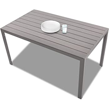 "Patio Dining Table Outdoor Aluminum Rectangle Table,All Weather Resistant,Size 55.1""L X 31.5""W X 28.3""H,Gray"