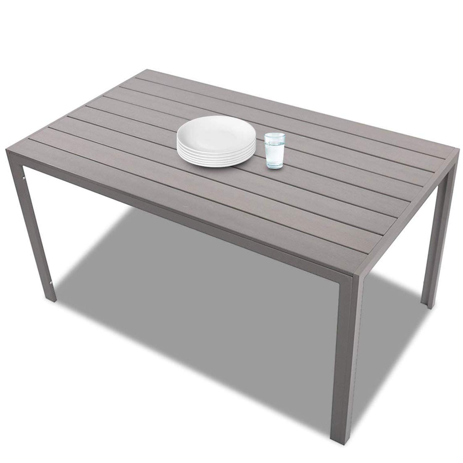 Outdoor Dining Table for 9, Patio Rectangle Aluminum Table