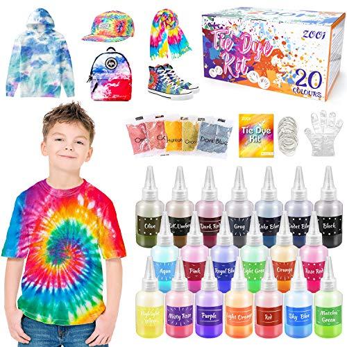 ZOOI Batikfarben Set - 20 Färben DIY Textilfarbe   Tie Dye Kit   Batik Set Waschmaschinenfest Von Stoff Und Kleidung, Färbemittel Textilien für Kindergeburtstag Bastelset Kinder & Erwachsene…