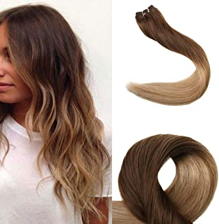 Full Shine 16 Inch Ombre Hair Extensions #4 Medium Brown Fading to #27 Honey Blonde Hair Bundles Remy Hair Extensions 100g Human Hair Weft Dip Dyed Hair No Clips No Tapes Weave Hair Extensions Sew ins