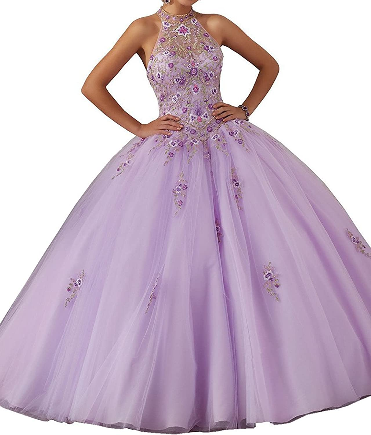 Engerla Women's High Neck Sleeveless Embroidery Floral Quinceanera Prom Gowns