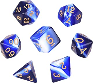 Polyhedral Dice, Transparent Blue and White Gem DND Dice Set-7Pieces for RPG MTG Table Games Dice with Velvet Dice Bag