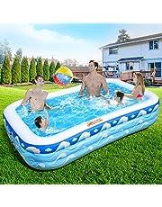 Lenbest プール 300cm*180cm*56cm 大型プール ビニールプール エアープール 大型 家庭用 三つ気室 超大容量 安全無毒 耐摩擦 水遊び 子供用 夏対応 アウトドア 室内 ビーチ 芝生 庭