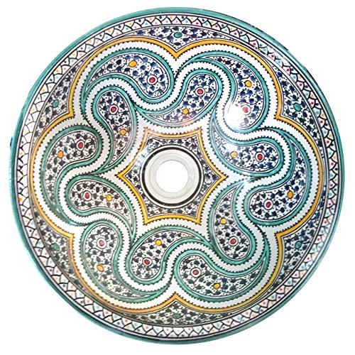 L'ORIENT Interior Orientalisches Keramikwaschbecken Basley 40cm | handbemaltes marokkanisches Waschbecken aus der Königsstadt FES