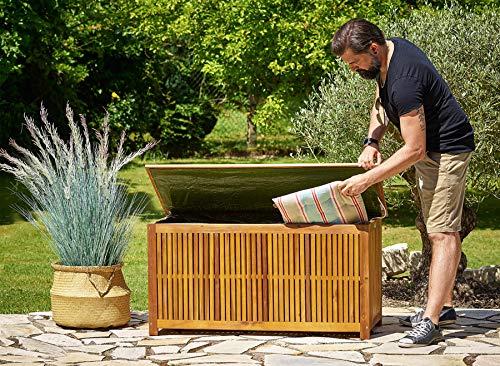 Gartentruhe Auflagenbox mit Innenplane Akazienholz 117cm - 3