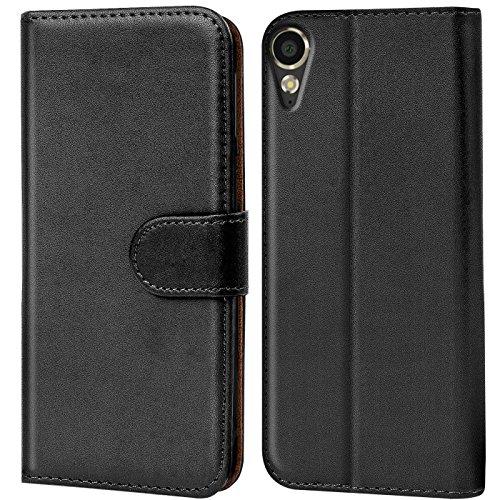 Verco Desire 10 Lifestyle Hülle, Handyhülle für HTC Desire 10 Lifestyle Tasche PU Leder Flip Hülle Brieftasche - Schwarz