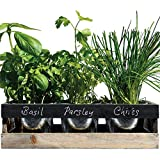 Viridescent DIY Indoor Herb Garden Kit To Grow Your Own Herbs - 3 x Reusable Plant Pots with Wood Planter Box, Drip Tray, Seeds, Blackboard and Chalk