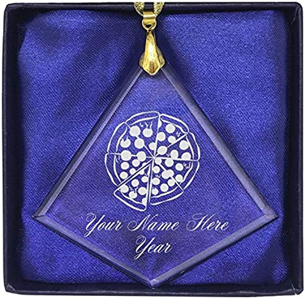 LaserGram Christmas Ornament Pizza Personalized Engraving Included Diamond Shape