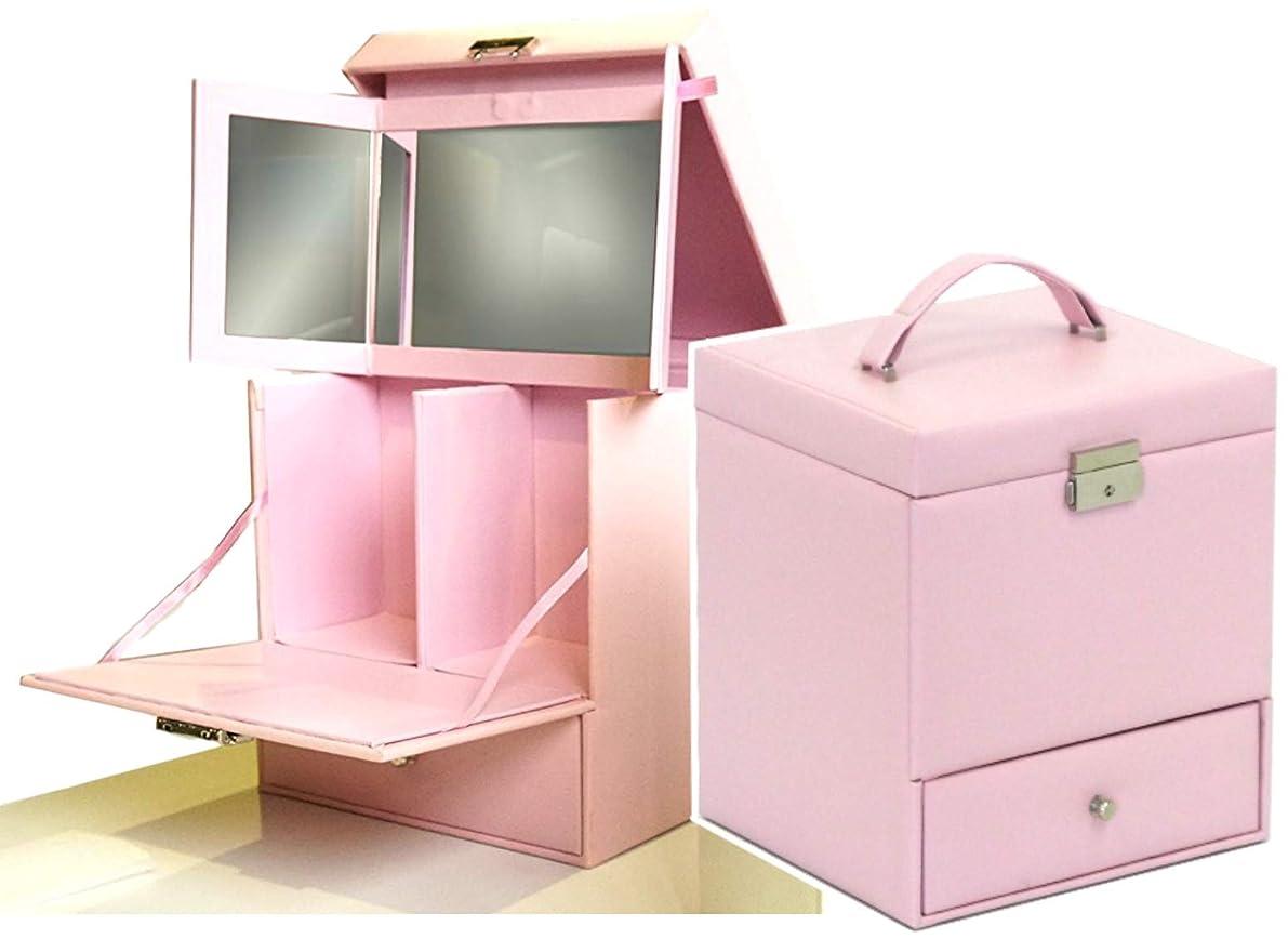 乱気流目を覚ます債務者三面鏡メイクボックス (コンパクト, ピンク色)