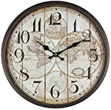 Perla PD Design - Reloj de pared de metal lacado con esfera de cristal y diseño vintage Diámetro de 30cm., metal, mapamundi