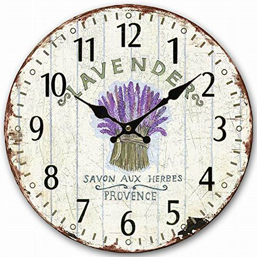 HQF Wooden Wall Clock, Eruner 12-inch Vintage Inspired Kitchen Wall Clock Silent Bedroom Lounge Clock Country Clock for Dining Room Bar Cafe Lavender Floral Pattern