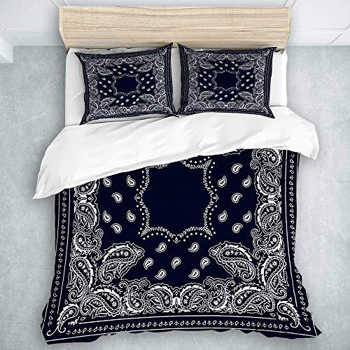 HUNKKY - Juego de funda de edredón de 3 piezas, diseño de bandana, color azul oscuro, colección de ropa de cama para niños, tamaño Queen