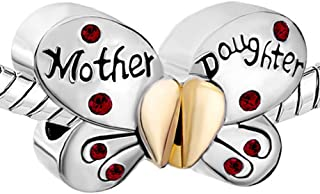 3494f3b12 Pugster Silver Plated Mother Daughter Charms Separable Butterfly Bead Fits  Pandora Charms Bracelet