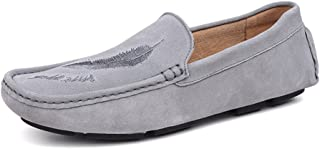 Oap Shoes For Men Men's Driving Loafers Casual Leather Sanding Style And Hollow Breathable Anti-slip Soft Bottom Boat Moccasins dt (Color : Khaki, Size : 44 EU)