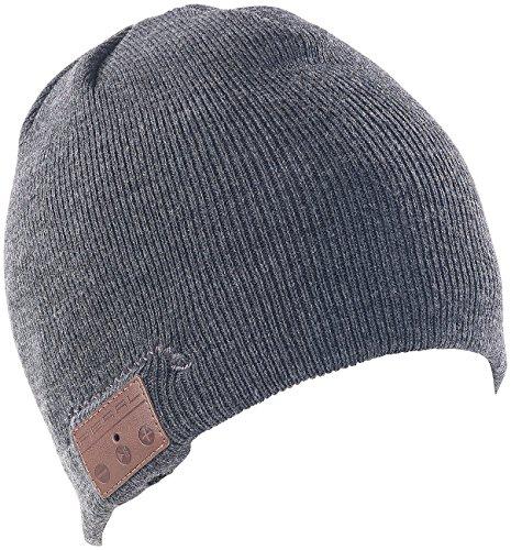 Callstel Mütze mit Kopfhörer: Beanie-Mütze mit integriertem Stereo-Headset und Bluetooth 4.2, grau (Sport Mütze)