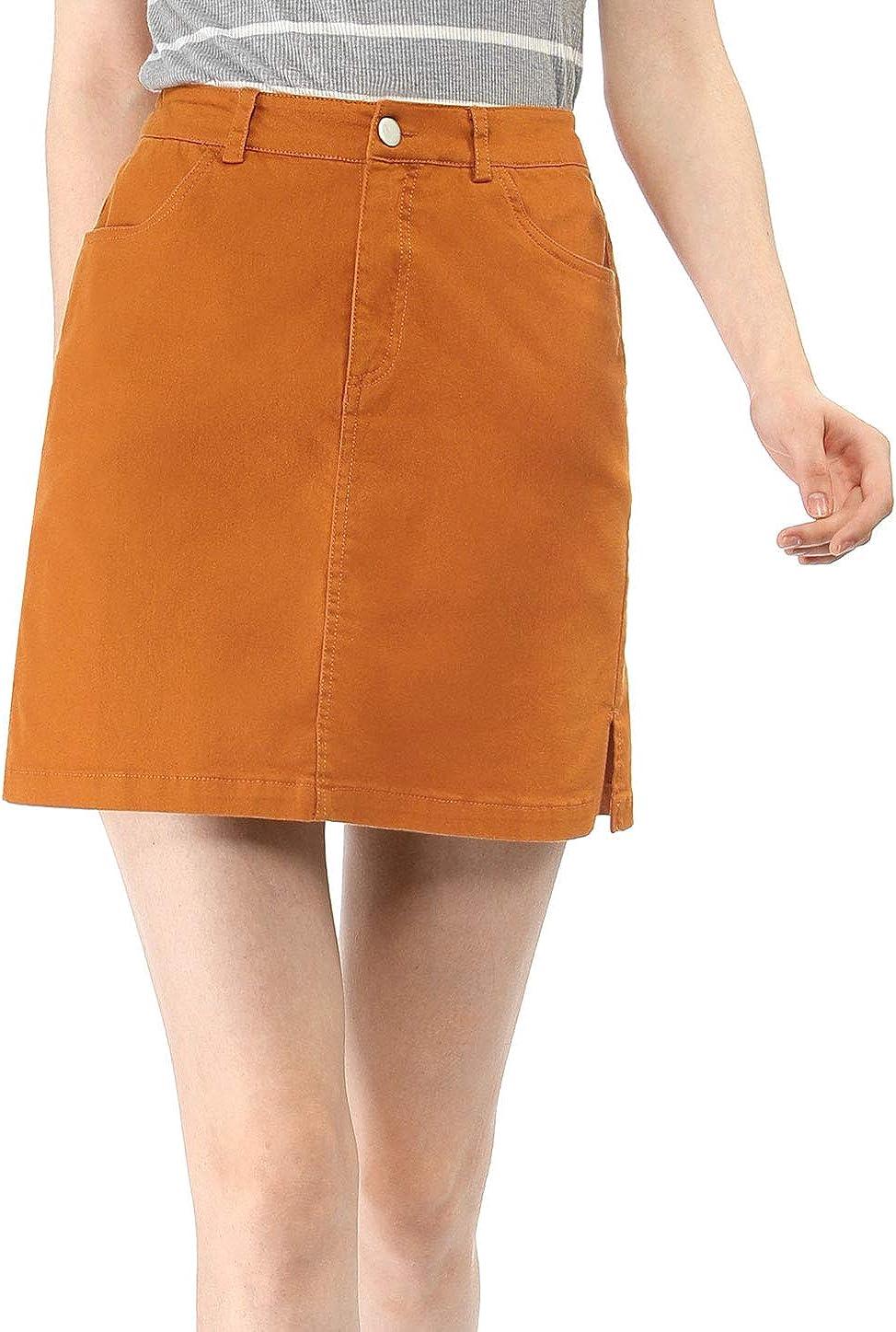 Allegra K Women's Back to Slit Sides Above Knee Straight Skirt