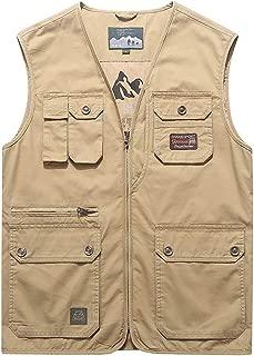 XXT Vest Spring Cotton New Multi-Pocket Outdoor Sports Vest Jacket Practicality (Color : Khaki, Size : XL)