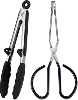 """Kitchen Tongs Set - 9"""" Silicone Tongs with Stand and 10"""" Scissor Cooking Tongs Perfect for Cooking, Baking and Grilling (B..."""
