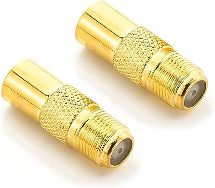 deleyCON 2X Antenna Sat Adattatore Cavo Coassiale per TV Plug Adapter - F Femmina a IEC Connettore Accoppiatore Maschio Cavo Coassiale Placcato Oro