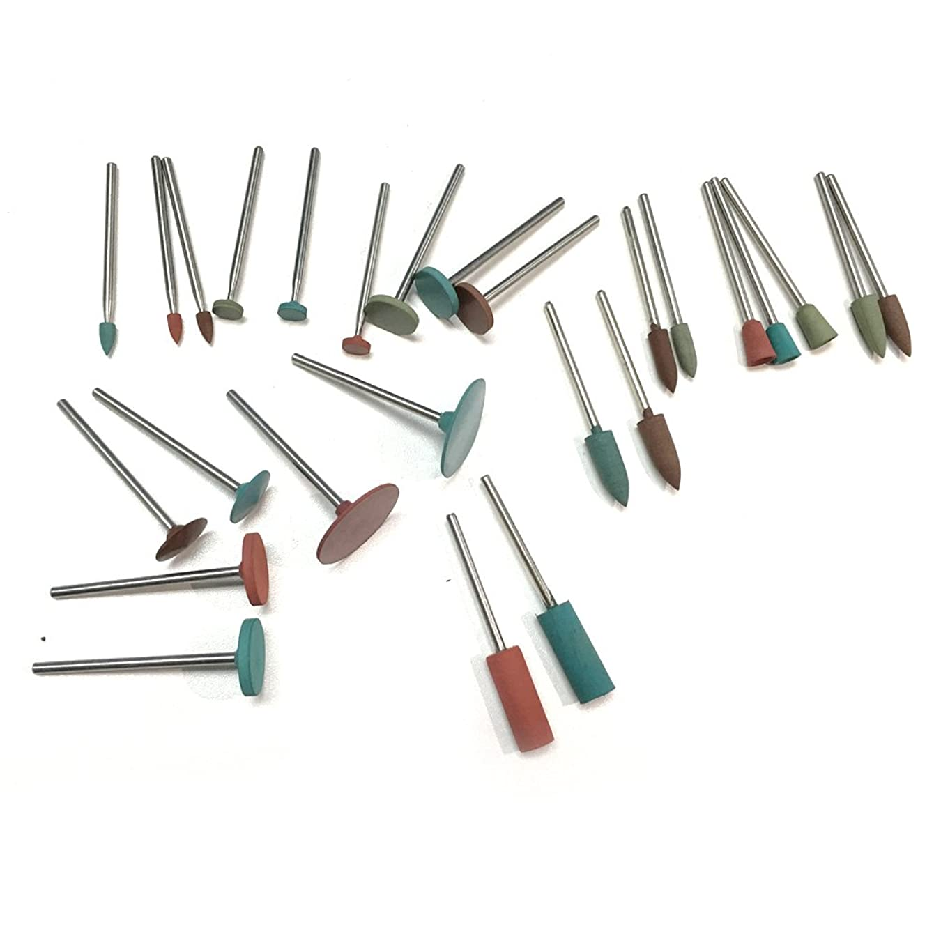 PHYHOO Jewelry Tool Rubber Rotary Tools Polishing Burr Dremel 26pcs Diamond-in-Rubber Emery Polishing Bit Set - Fits Dremel - Metal, Glass, Stone, Tile
