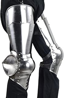 Medieval 14th - 15th Century Leg Armor - German Gothic 16 Gauge Silver