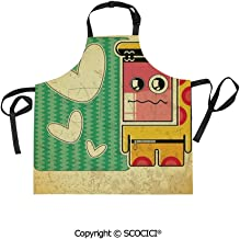 SCOCICI Men Woman Kitchen Printed Apron with Adjustable Neck 2 Side Pockets,Vintage Sad Game Boy with Abstract Pattern and Hearts Kids Boys Cartoon Illustration for Cooking Baking Gardening