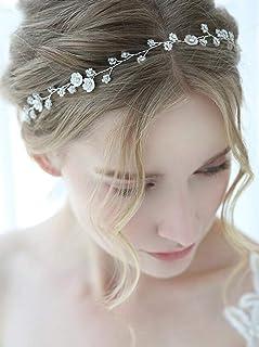 FXmimior - Fascia per capelli da sposa, con fiore, accessorio per capelli, accessorio per capelli da donna