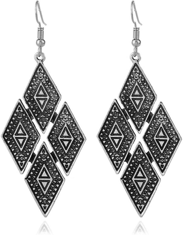 FOTTCZ Personality Geometric Drop Earrings Retro Ethnic Pattern Hook Dangle Earrings Copper Vintage Pendant Earrings for Women Girls