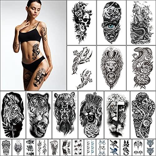 25 Fogli Tatuaggi Temporanei Adulti Uomo Donna,Grande Tatuaggi Manica Braccio Realistica 3D Adesivi Tatuaggi Finti impermeabili Rosa Cranio Tigre Lupo Leone Tattoo Sleeve Piccolo Tatuaggio Temporaneo