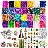 Hismo 12000+ Rainbow Rubber Bands DIY Gift Set: 11,000 Loom Bands, 2 Rings(Random)